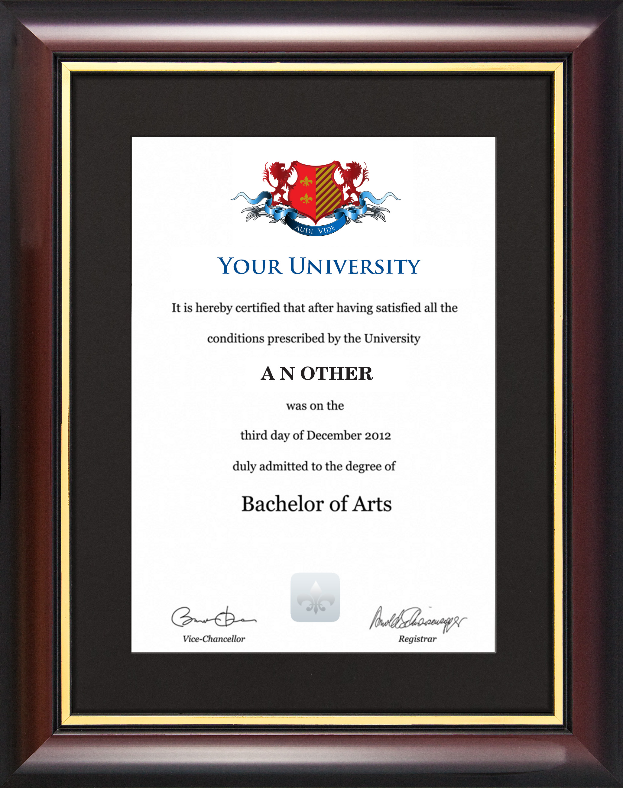 Degree/Certificate Display Frame - Traditional Style - Graduation ...