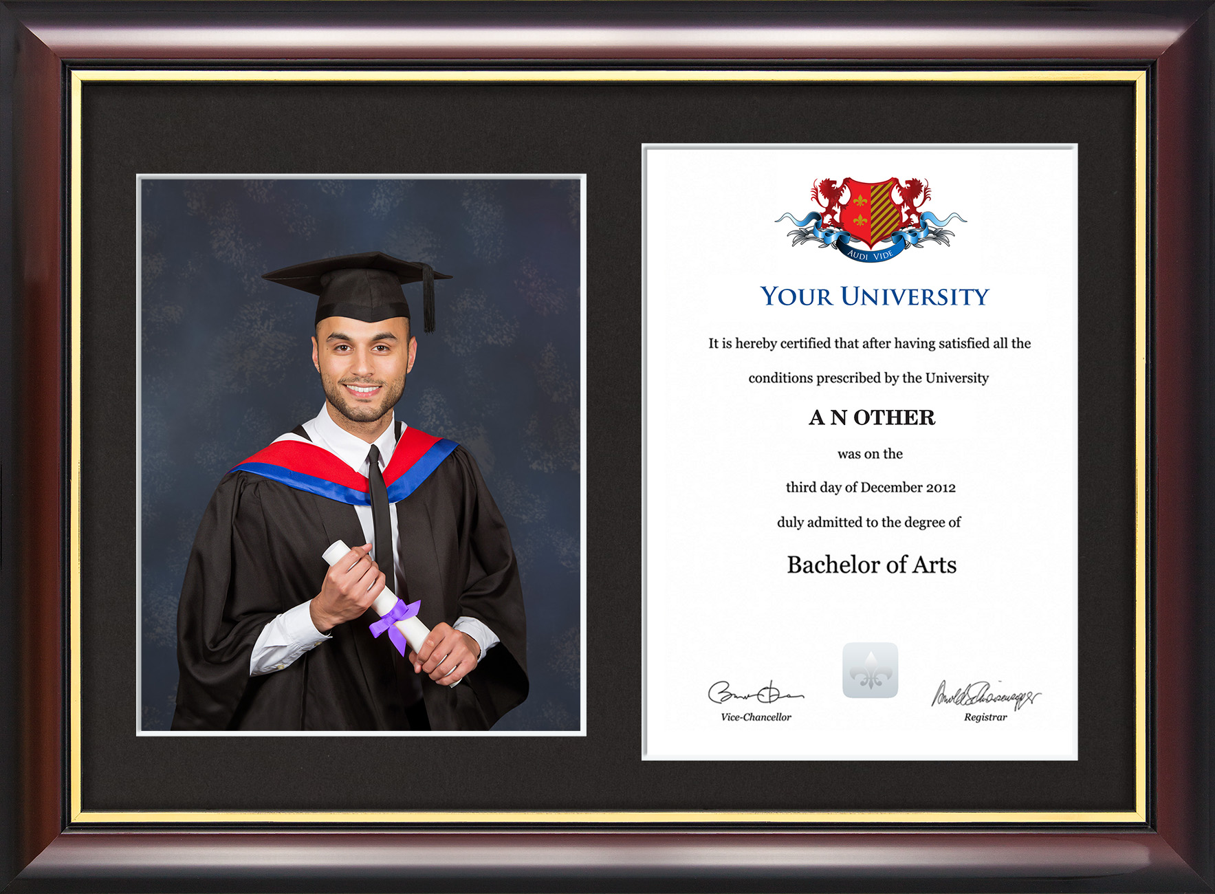 87743336646 Dual Graduation Certificate and Photo Frame - Traditional Style - Graduation  Gowns